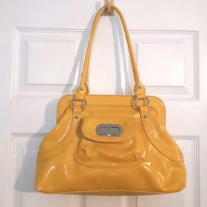 Bright Yellow Patent Leather Purse Handbag Medium